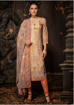 Beige Color Designer Viscose Straight Cut Suit